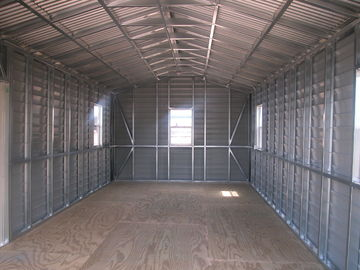China US Prefabricated Gable Steel Shed , Car Storage Sheds Steel Buildings distributor